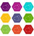 farm eggs icons set 9 vector image vector image