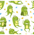 green funny frog seamless pattern cute amphibian vector image vector image