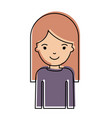 half body woman with long straight hair in vector image vector image