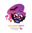halloween night greeting card with bat vector image vector image