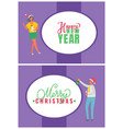 happy new year merry christmas postcards people vector image vector image