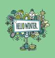 Hello Winter Hand Drawn Doodle Green vector image vector image