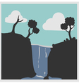 Hill with waterfalls vector image vector image