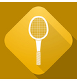 icon of Tennis Racket with a long shadow vector image vector image