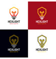 idea logo design bulb symbol hexagon icon start vector image vector image