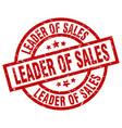 leader of sales round red grunge stamp vector image vector image