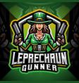 leprechaun gunner girls esport mascot logo vector image vector image