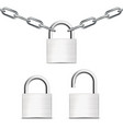 metal chain with padlock close and open ones vector image