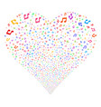 music notes fireworks heart vector image vector image