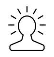 new bright idea in human head line icon vector image vector image