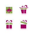 pink and green gifts icon set with reflection vector image