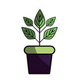 plant inside flowerpot to ecology preservation vector image vector image