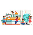 readers kids tiny people and huge stack vector image