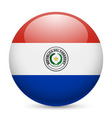 Round glossy icon of paraguay vector image vector image