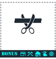 Scissors cutting ribbon icon flat vector image vector image