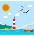 sea lighthouse boat sun blue sky background vector image vector image