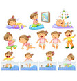 set baby girl doing different activities vector image