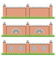 set manor or garden brick fences vector image