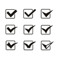 set nine different grey and white check marks vector image
