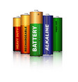 set of aa batteries isolated on white vector image