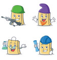 set of bag character with army elf professor vector image vector image