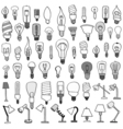 Set of Bulb Doodle vector image