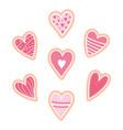 set pink heart cookies vector image vector image