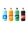 set plastic bottle water and sweet soda cola vector image vector image