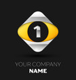 silver number one logo in silver-yellow square vector image vector image