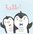 sketch friendly penguins vector image vector image