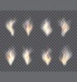 smoke and fire set transparent effects vector image vector image