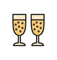 two glasses champagne flat color icon vector image
