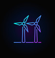 two wind turbines colorful icon vector image vector image