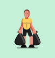 voluntire with packa ges with garbage in hands vector image