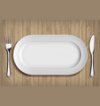 white ceramic plate fork and knife on table vector image