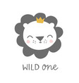 wild one lion with crown kids baby vector image vector image