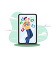 young man addicted social media vector image