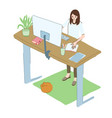 young woman works at home standing at high desk vector image vector image