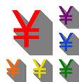 yen sign set of red orange yellow green blue vector image