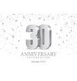anniversary 30 silver 3d numbers vector image