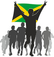 Athlete with the Jamaica flag at the finish vector image vector image