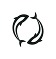 Black pisces isolated on white vector image