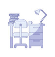 blue shading silhouette of desk home with chair vector image vector image