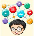 Boy with glasses and science symbols vector image vector image