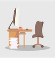 brown computer cup with drink on desk in office vector image vector image