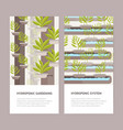 bundle of vertical banners with plants growing in vector image