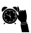business hand with alarm clock icon vector image vector image
