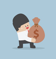 Businessman holding a money bag with dollar sign vector image vector image
