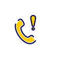 call icon with exclamation mark vector image