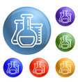 chemistry flask icons set vector image vector image